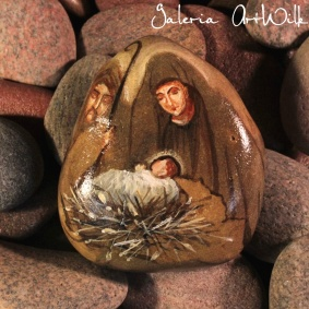 "Hand painted pebble ""Holy Family"""