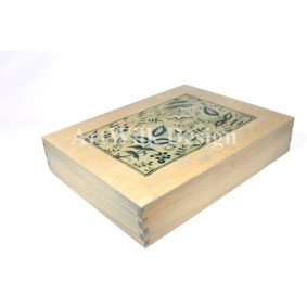 "Wooden box for cutlery ""Blue floral"""