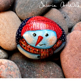 "Hand painted pebble ""Snowman"""