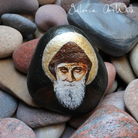 "Hand painted pebble""Saint Charbel"""