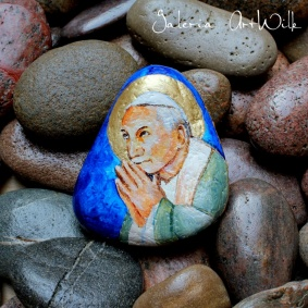 "Hand painted pebble ""Saint John Paul II"""