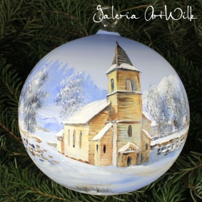 Winter in Norway - Hand painted glass ball 36181