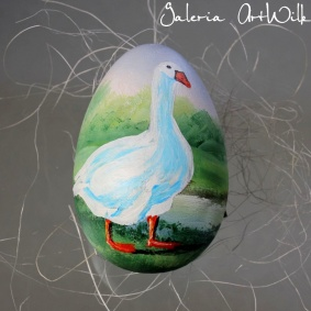 Wooden Easter egg with goose