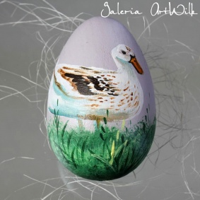 Wooden Easter egg with duck