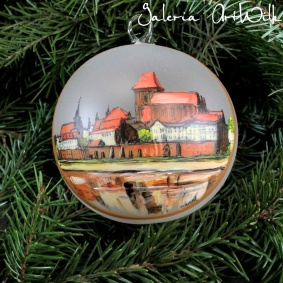 Hand painted glass ball - Toruń