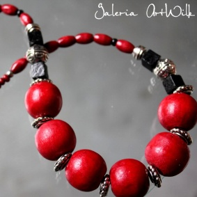 Red wooden beads