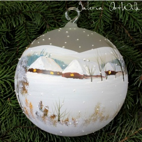 Hand painted glass ball 15 / 31 / 4