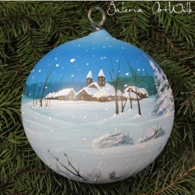 Hand painted glass ball 15 / 31 / 8