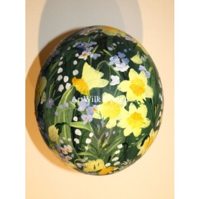 Ostrich easter egg, hand painted 201