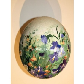 Ostrich easter egg, hand painted 204