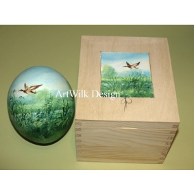 Ostrich easter egg, hand painted 210