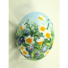 Ostrich easter egg, hand painted 213