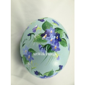 Ostrich easter egg, hand painted 214
