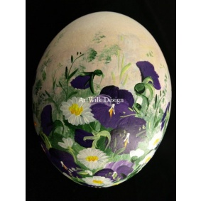 Ostrich easter egg, hand painted